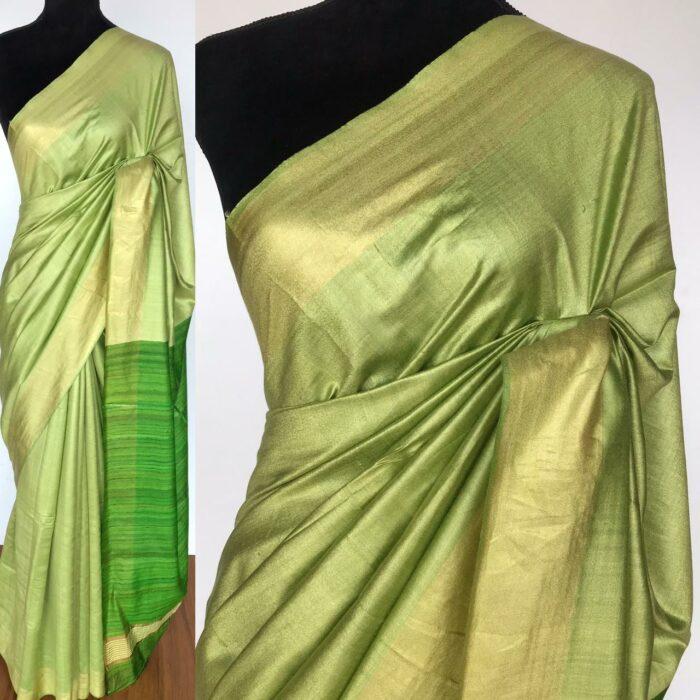 Green Handloom Tussar Ghicha Silk Saree