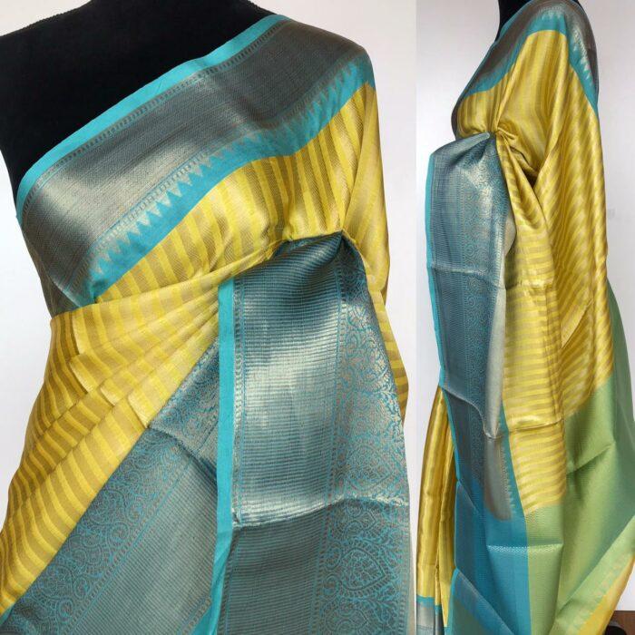 Yellow Kora Silk Saree with Gold Zari Weaves