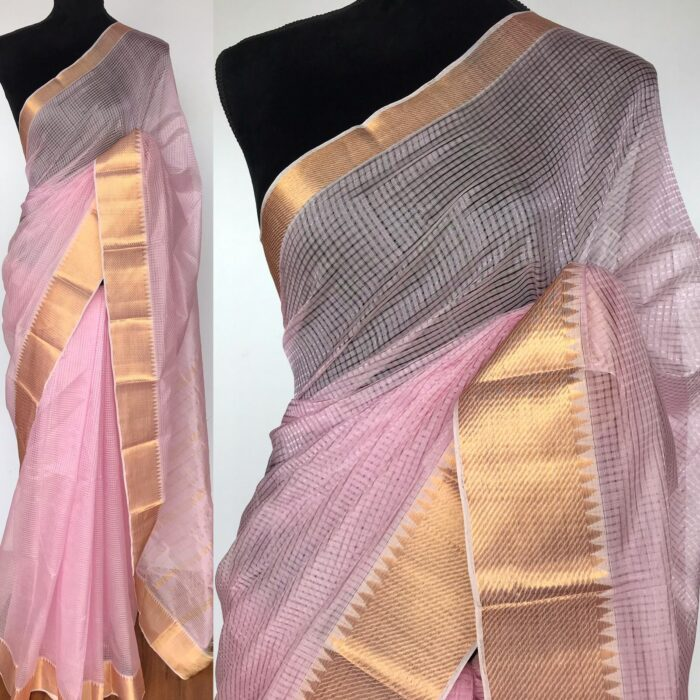 Baby Pink Mangalagiri Silk Saree with Kanchi Silk Border