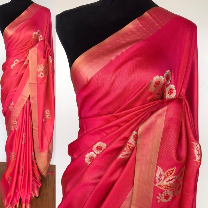 Coral Red Banarasi Silk Saree with Gold and Silver Zari Weaves