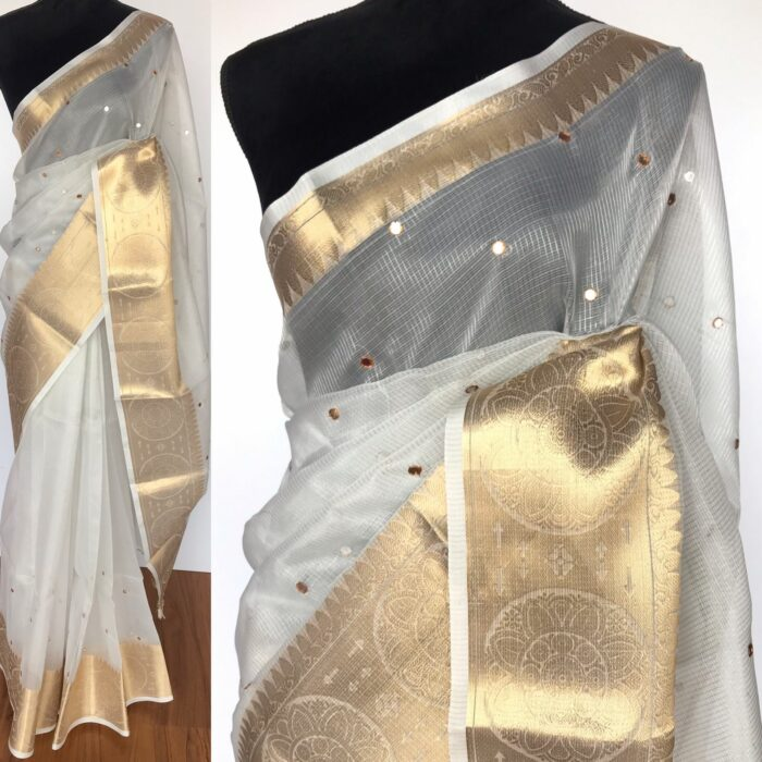 Silver Kota Silk Saree with Mirror Work