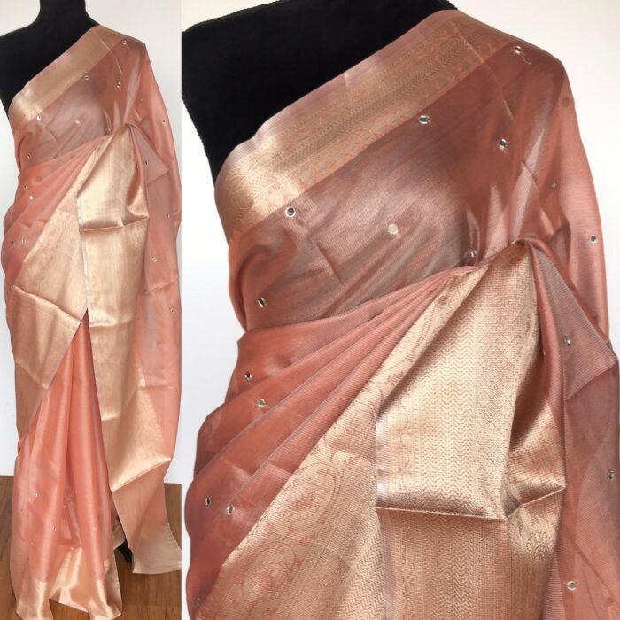 Peach Kota Silk Saree with Mirror Work