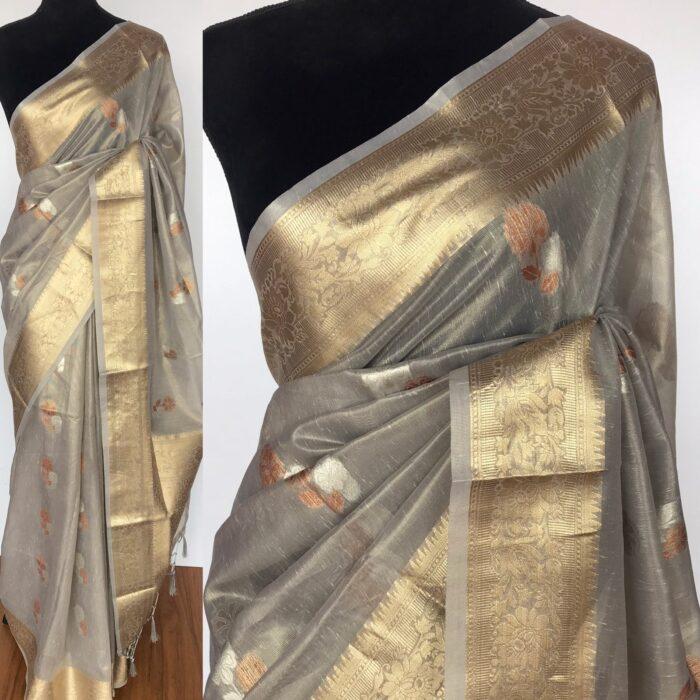 Grey Tissue Silk Saree with Gold and Silver Zari Buttas
