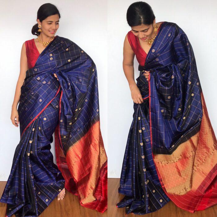Blue Kanjivaram Silk Saree with Handwoven Pakshi Zari Buttas