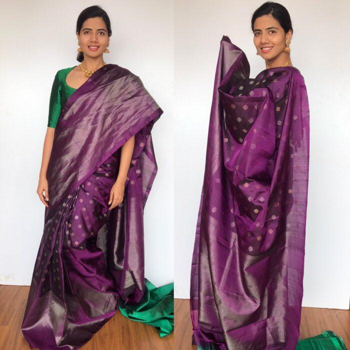 Purple Kanjivaram Silk Saree with Handwoven Silver and Gold Zari Weaves