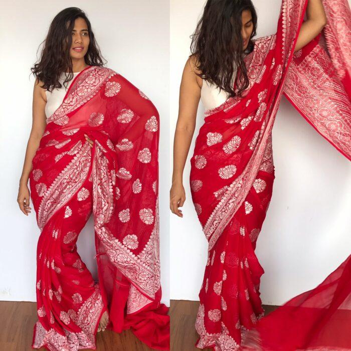 Scarlet Red Banarasi Silk Saree in Pure Khaddi Georgette