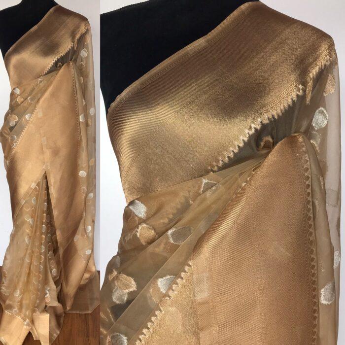 Beige Organza Saree with Gold and Silver Zari Buttas