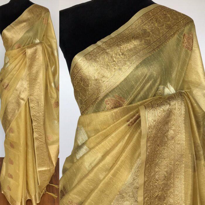 Green Tissue Silk Saree with Gold and Silver Zari Buttas