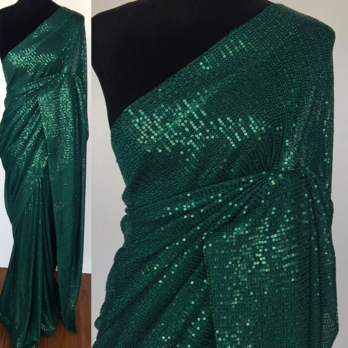 Bottle Green Georgette Saree with Embroidered Sequins