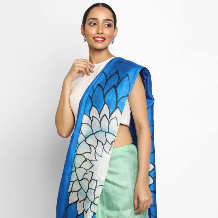 Multicolor Handpainted Pure Silk Saree