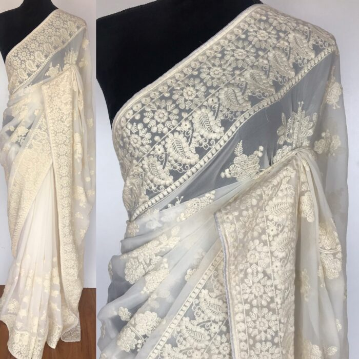 White Georgette Saree with Embroidery