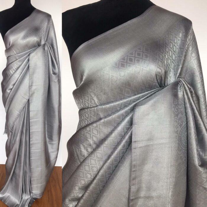 Grey Banarasi Silk Saree with Silver Zari Weaves