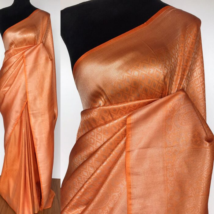 Orange Banarasi Silk Saree with Silver Zari Weaves