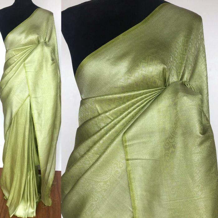 Green Banarasi Silk Saree with Silver Zari Weaves
