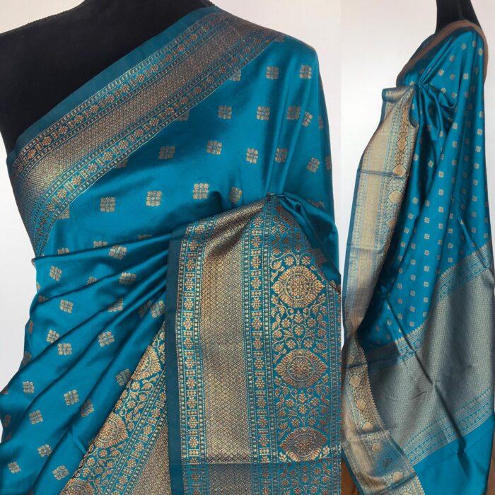 Blue Banarasi Soft Silk Saree with Antique Gold Zari Weaves