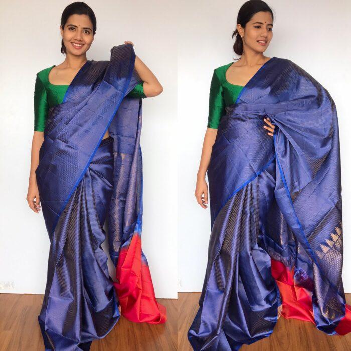 Royal Blue Kanjivaram Silk Saree with Handwoven Silver Zari Weaves