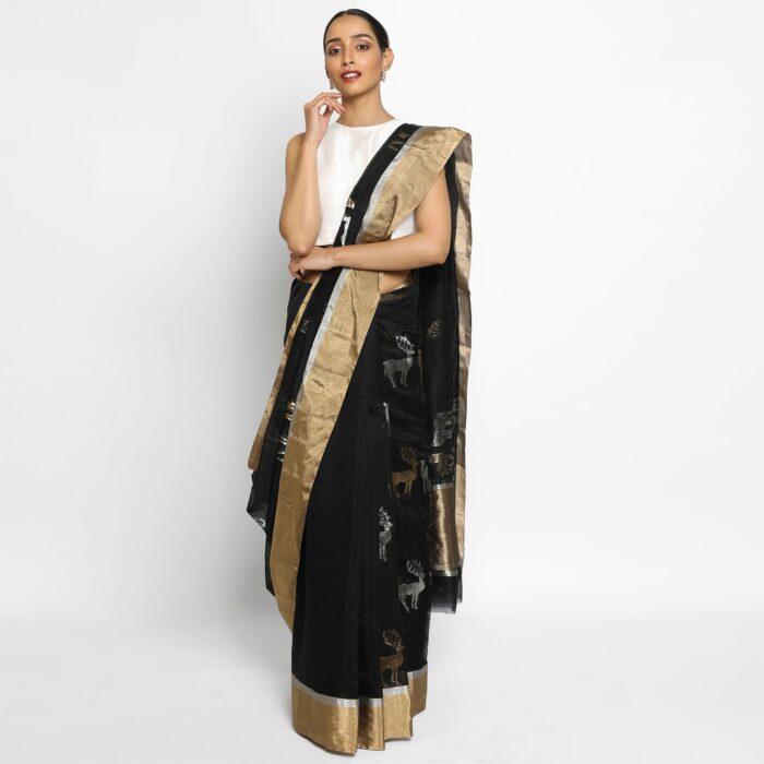 Black Chanderi Silk Saree with Beautiful Woven Gold and Silver Zari Deer Motifs