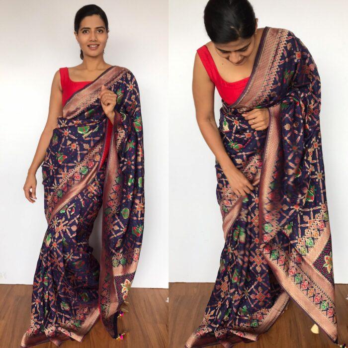 Navyblue Banarasi Silk Saree in Georgette with Beautiful Gharchola Weaves