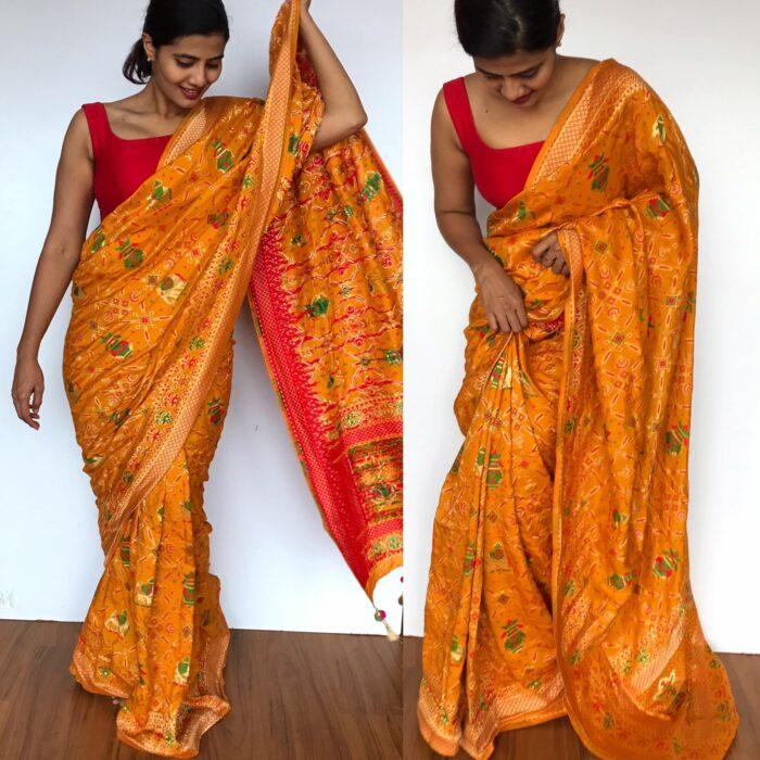 Mustard Banarasi Silk Saree in Georgette with Beautiful Gharchola Weaves