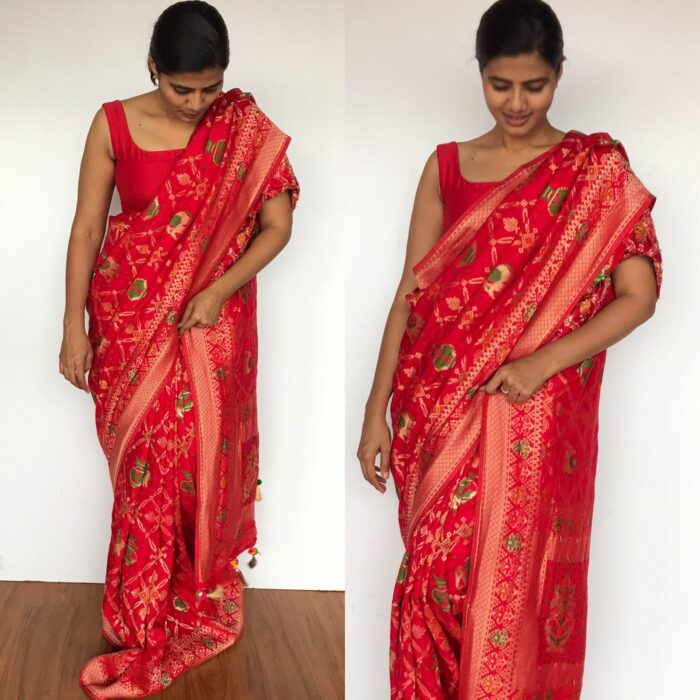 Red Banarasi Silk Saree in Georgette with Beautiful Gharchola Weaves