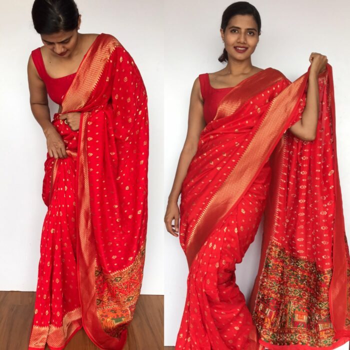 Red Banarasi Silk Saree in Georgette with Beautiful Patola Weaves