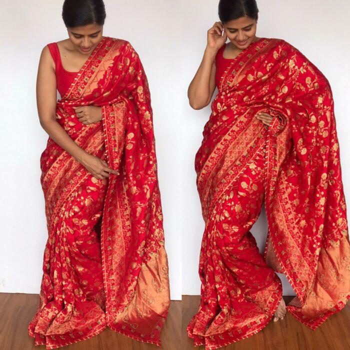 Red Banarasi Silk Saree in Georgette with Intricate Floral Zari Jaal