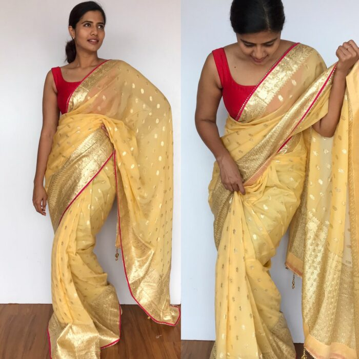 Butter Yellow Organza Saree with Silver Zari Weaves enhanced with Gotapatti Piping