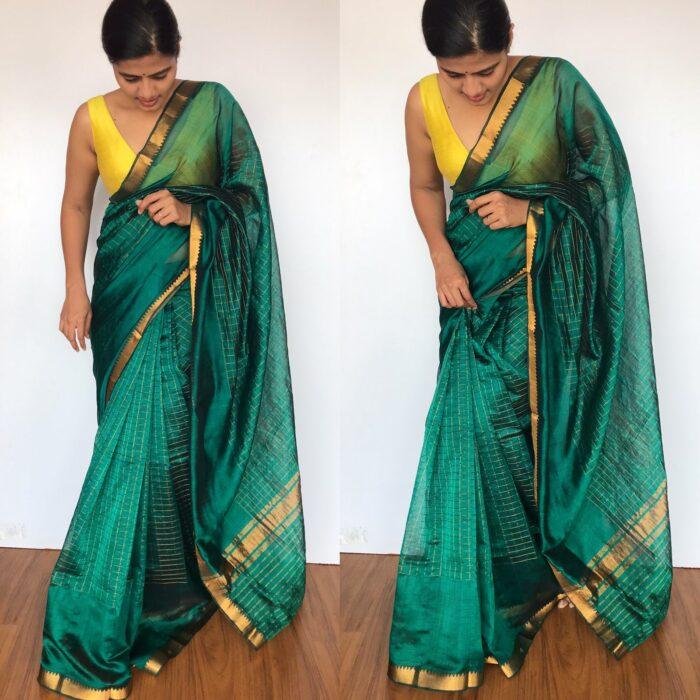 Emerald Green Mangalagiri Silk Saree with Gold Zari Checks