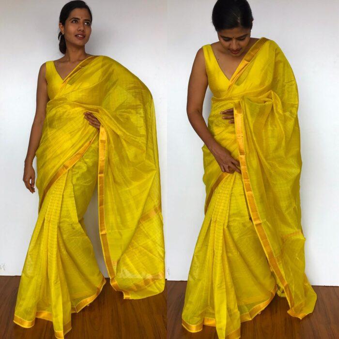 Yellow Mangalagiri Silk Saree with Gold Zari Checks