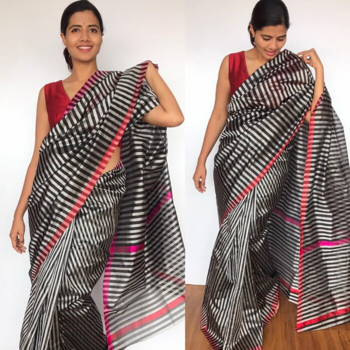Pure Black Chanderi Silk Saree