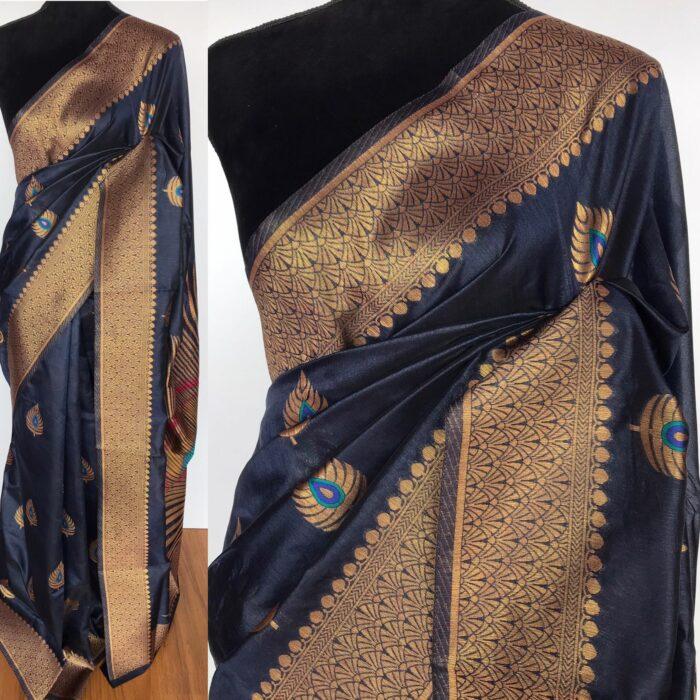 Navyblue Banarasi Silk Saree with Antique Gold Zari Weaves