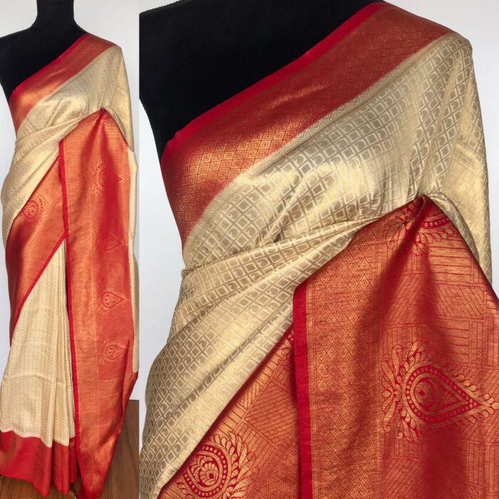 Offwhite Banarasi Silk Saree with Gold Zari Weaves