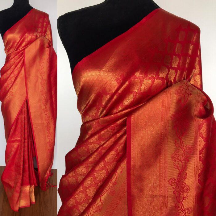 Scarlet Red Banarasi Silk Saree with Gold Zari Weaves