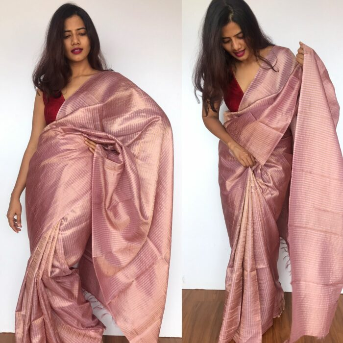 Dusty Pink Tussar Silk Saree