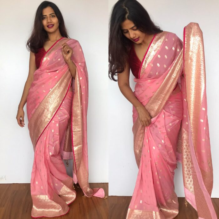 Baby Pink Organza Saree with Silver Zari Weaves enhanced with Gotapatti Piping