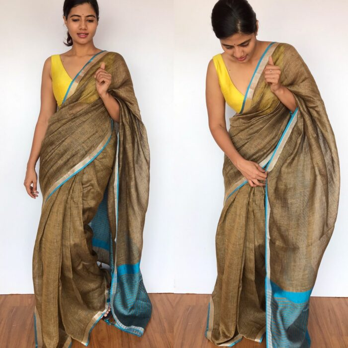 Earthy Brown Linen Saree with contrast edging