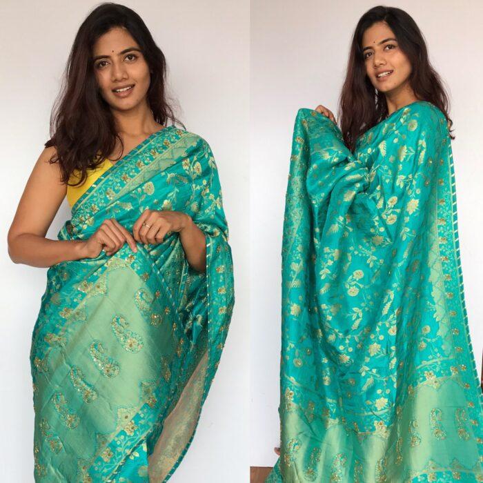 Dark Blue Banarasi Saree in Georgette with Intricate Floral Zari Jaal