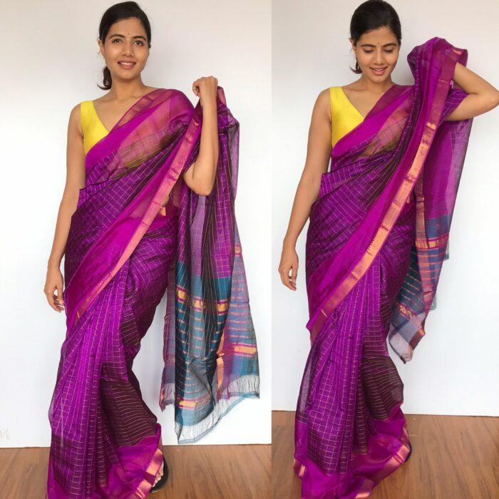 Magenta Purple Mangalagiri Silk Saree with Gold Zari Checks