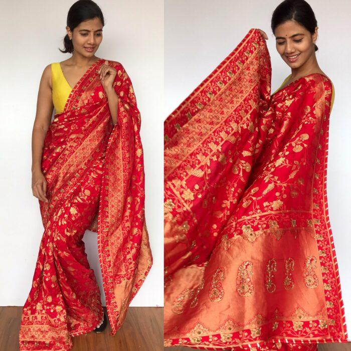 Peachy Red Banarasi Saree in Georgette with Intricate Floral Zari Jaal