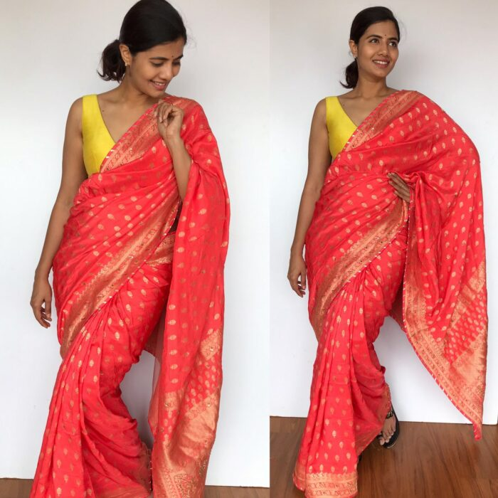 Peach Banarasi Saree in Georgette with Gold Zari Weaves highlighted with Beautiful Zardozi Embroidery and Gota Piping