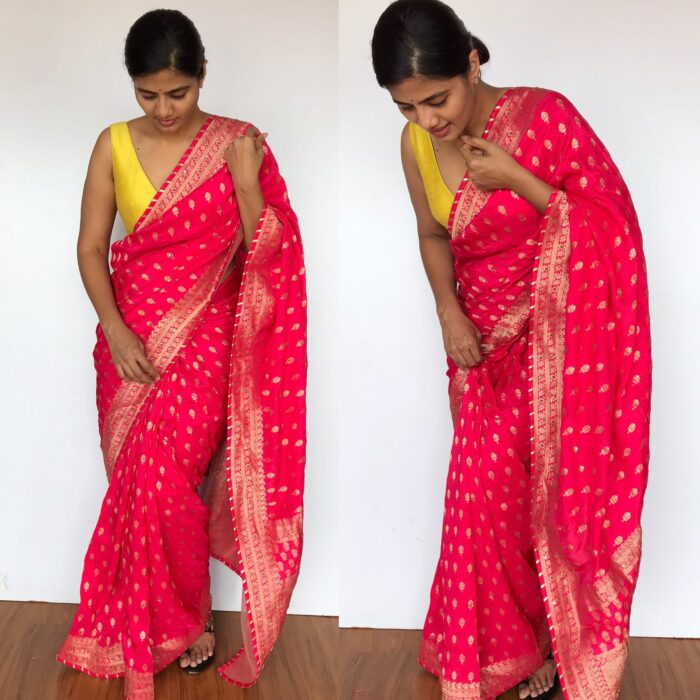 Rani Pink Banarasi Saree in Georgette with Gold Zari Weaves highlighted with Beautiful Zardozi Embroidery and Gota Piping