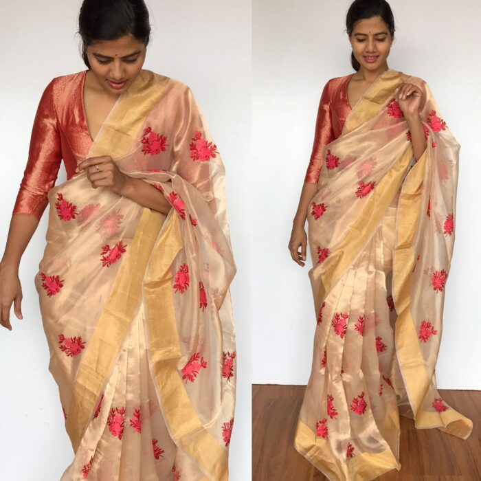 Pure Gold Tissue Silk Saree with Floral Embroidery