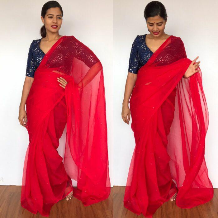 Scarlet Red Chiffon Saree with Badla work