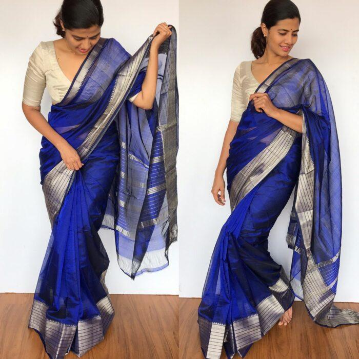 Royal Blue Mangalagiri Silk Saree with Kanchi Silk Border