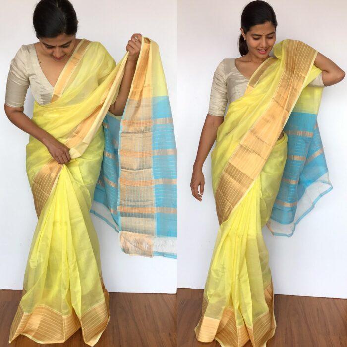 Pastel Yellow Mangalagiri Silk Saree with Gold Zari Kanchi Silk Border