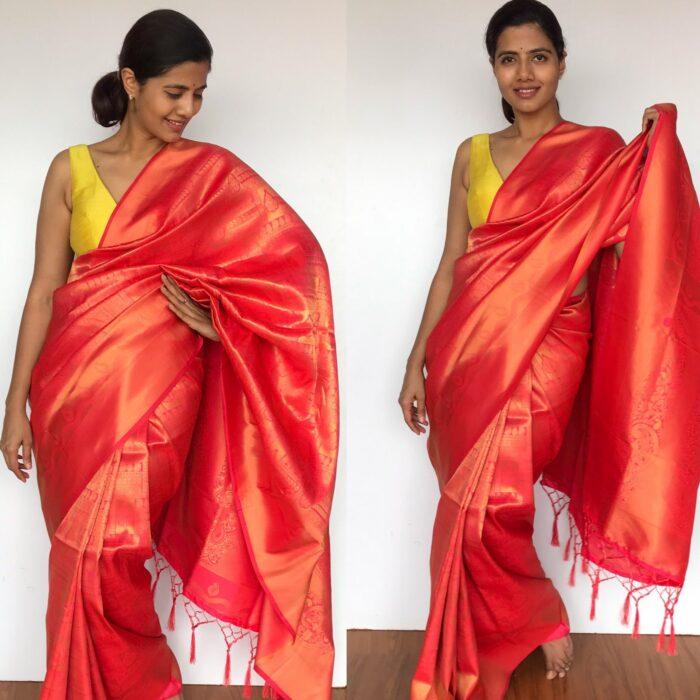 Peach Banarasi Silk Saree with Gold Zari Weaves