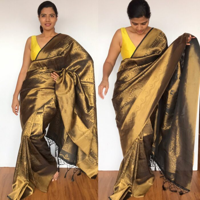 Black Banarasi Silk Saree with Gold Zari Weaves