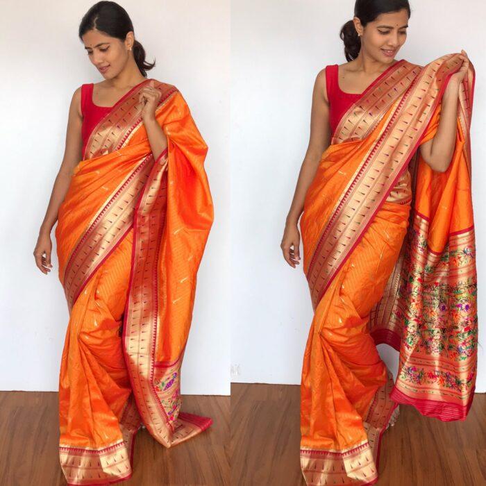 Golden Orange Banarasi Silk Saree with Beautiful Paithani Weaves