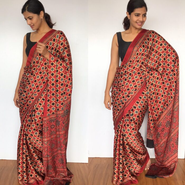 Ajrakh Printed Dark Red Modal Silk Saree