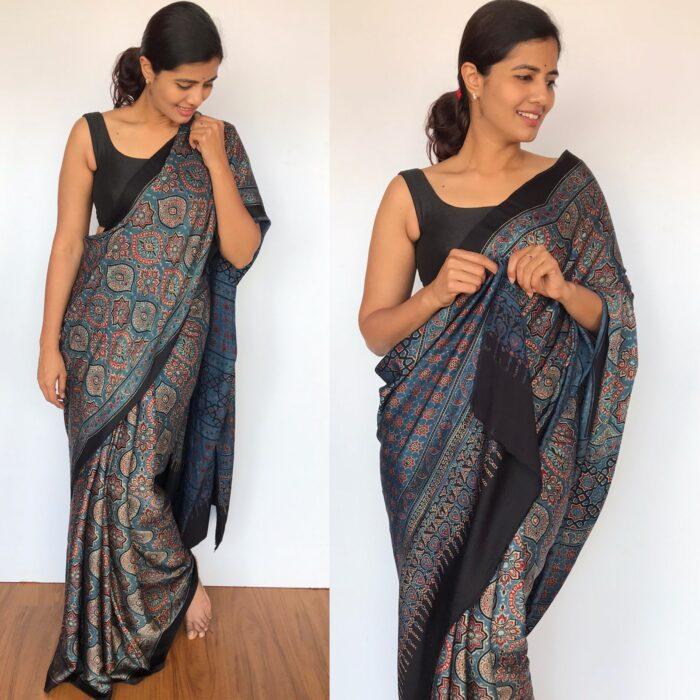 Indigo pure Blue Modal Silk Saree with Ajrakh Hand Block Prints